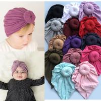 Newes ins 16 اللون الأزياء دونات الطفل قبعة الوليد مطاطا القطن قبعة قبعة متعددة الألوان الرضع الكرة عقدة الهندي العمامة القبعات
