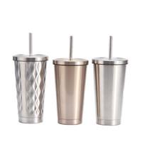 밀짚 및 립과 500ML 스타 벅스 승화 커피 머그컵 스테인레스 스틸 BlanksTumbler 병 진공 절연 승화 공백 컵