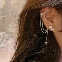 Stud Boako Fashion Aguja Hexagonas Hexagonas Star Cadena Pendientes para Mujeres Pendiente Largo Ear Hueso Piercing Joyería Brincos