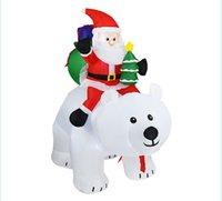Noël Santa Claus Hotselling bonhomme de neige gonflable costume de fête de Noël Vêtements Costume gonflable Père Noël avec l'ours intérieur HHB2405