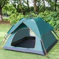 3-4 사람들이 자동 기업, 더블 레이어 다기능 캠핑 텐트 쉬운 인스턴트 설정 태양 쉼터 Traveling Hiking1