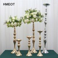 装飾的な花の花輪110cmゴールドシルバーキャンドルホールダー花瓶テーブルセンターピースイベントラックロードリードウェディングデコレーションメタルCA