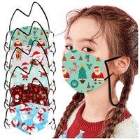 Maschere Hanging Maschera Collo bambini Viso Natale Cartoon Babbo Natale Elk Snowman polvere lavabile bocca con cordino di natale maschera protettiva bambini