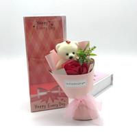 لطيف الدب الصابون زهرة مع هدايا مربع حزمة واحدة صلبة اللون روز الزهور الزفاف المعلمين عيد الحب هدية عيد 5QQ J2