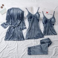 SFIT Pajamas женский осенний золотой бархат из четырех частей костюм длинный абзац халат жгут набор с грудной площадкой бархат 2020 сплошной пижамас1
