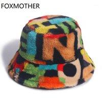 Широкие шляпы Breim Hats Foxmote открытый многоцветный Rainbow Faux меховая буква шаблон ведро женщин зимний мягкий теплый Gorros Mujer1