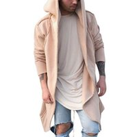New Mens Unisex beiläufige Strickjacke mit Kapuze lange Mantel-Kap-Mantel Cosplay lose Jacke Herren Pullover Sweatshirt mit Kapuze Jacken