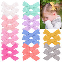 1Set 2Pcs Girls 3.9 Inch Solid Bows With Clips Hairpins Hair Clip Barrettes Hairpin Kdis Headdress Beautiful HuiLin C465