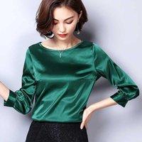 Biboyamall Kadın Bluzlar Bahar Casual Ipek Bluz Gevşek Uzun Kollu İş Giyim Blusas Feminina Üstleri Gömlek Artı Boyutu XXXL Top1
