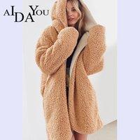 Aidayou Осень Зима Новый Шерстяной Реверсивный Женщины моды Шинель Толстые Теплый Сплошной цвет длинное пальто Ouc2513