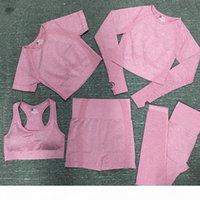 Autunm 겨울 패션 디자이너 Womens 코튼 요가 정장 Gymshark Sportwear Tracksuits 피트니스 스포츠 5 피스 세트 5pcs 브래지어 레깅스 복장