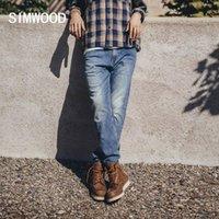 Simwood 2020 осень зима старинные регулярные прямые джинсы мужчины плюс размер джинсовые брюки высококачественный бренд одежда SJ130846 Q0109