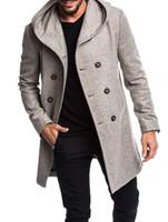 Мужская траншея пальто Длинные шерстяные пальто двубортные осенние ветровка с капюшоном