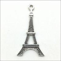 Los 100pcs Eiffelturm-Legierungs-Charme-hängende Retro- Schmucksachen, die DIY Keychain alte silberne Anhänger für Armband-Ohrringe 35 * 19mm