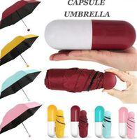 Mini Cep Boyutu Şemsiye Anti UV Mini Kapsül Şemsiye Rüzgar Geçirmez Katlanır Şemsiye Yağmur Cep Şemsiye 4 Renkler KKA7177-1