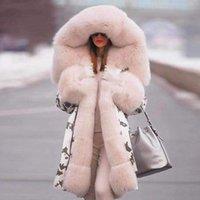 Marka Yeni Stil Büyük Yün Yaka Kış Coat Kadınlar Elbise Sıcak Kalın Gevşek Coats Casual Kapşonlu Uzun Kollu Ceket Kaban Kadın