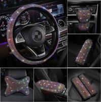 Bling Brilhando Strass Cristal Carro Distância Capa de Capa de Couro PU Cobertura de Roda da Roda Automática Acessórios Case Kit para Meninas1
