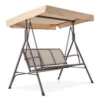 Waco Outdoor 3-Seat Patio Swing ławki z baldachimem ,, Stalowa rama Textlene Foteliki, Canopy Top Cover Głośnik Krzesło do ogrodu