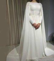 Modest Weiße Abendkleider Dubai Saudi-Arabien Frauen Abaya Lange Ärmel Prom Kleider mit Mantel Kap Spitze Perlen Formale Party Kleid AL7478