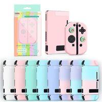 Nuevos accesorios de videojuegos de venta caliente Macaron Blue Pink Gradient Shell Funda protectora para el interruptor de Nintendo Shell protector