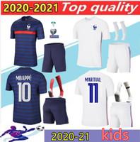 화이트 B 아이 프랑스 MBappe 축구 유니폼 아이 키트 2020 Griezmann Pogba 축구 셔츠 20 21 Pavard Kante Boys 전체 세트 유니폼