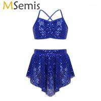 Sahne Giymek MSEMIS Kız Sequins Bale Modern Çağdaş Lirik Dans Kostümleri Set Cirss Çapraz Kırpma Üst Tutu Asimetrik Etek1