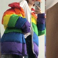 U-yün HARAJUKU Kış Rahat Ceket Kadın Gökkuşağı Wadded Parka Artı Boyutu Gevşek Çizgili Ceket Femme Chaqueta Mujer1