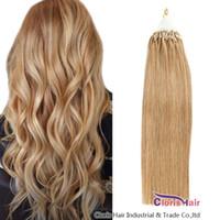"""Schleife Micro Ring Machine Hergestellt Remy Hair Extensions 100% Human Hair Gerade europäische Licht Blondine # 16 Micro Perlen Links 16-22 """"0.5g / s 50g / set"""