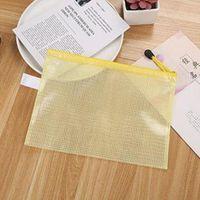 Novelty Grid File Bag Student Pencil Pouch High Capacity Korean Bag Transparent Zipper Pencil Case Stationery School Supplies Q jllwHL