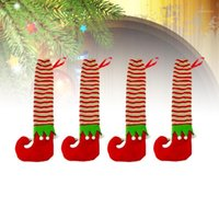 크리스마스 장식 4 PCS 천으로 테이블 다리 양말 장식 의자 피트 홈 사무실 (ELF) 1 바닥 보호대 커버