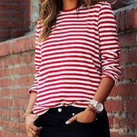 Black Red Striped Hip Hop Loose Casual T-Shirt For Women Long Sleeve O-Neck Personality Female Sports Running T-Shirt Ladies Tee