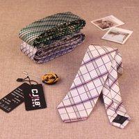Corbatas del cuello Corbata delgada coreana de los hombres estrechos 6cm de moda de moda de 1200 agujas Aguja británica Plaid Slim Grid Necktie para Party 6cm1