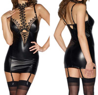 Mujeres Lencería PU Cuero Mini Dress + G String Sexy Encaje Patchwork Halter Cuello Alto Corte Leotard Body Uniform Clubwear Black Plus Tamaño