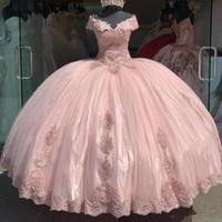 2020 с плечом Puffy розового Quinceanera платья Шнурок Applqiue Сладких 16 мантий выпускного вечером шнурка vestidos от 15 ANOS пятнадцатого платья