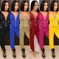 Women Skinny 2Pcs Sets Clothing Fashion Trend Long Sleeve Zipper V-Neck Hooded Tops Pant Suits Designer Female Winter Casual Slim Tracksuits