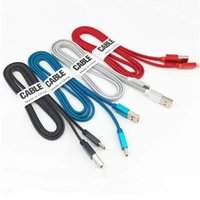 2.4A Metal Flat Noodle Fabric Nylon Braided Cable Type-c Micro Usb Cable For samsung s10 note 10 htc android phone
