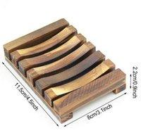 Plato de jabonera de madera natural Antideslizante Baño de jabón Bandeja Soporte de almacenamiento Jabón de estante Placa de placa de recipiente Baño de ducha Baño W67