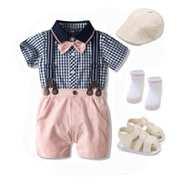 Summer Baby Boys Clothes with Shoes Newborn Suit Hat + Plaid Romper + Shorts Overalls Fashion Cotton New Born Wedding Clothing Y1112