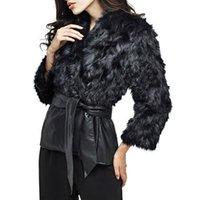 여성용 모피 가짜 PU 가죽 코트 재킷 검은 패치 워크 여성 겨울 두꺼운 따뜻한 슈시 벨트 Bowknot Tie Outwear Plus 크기 4x 7F1148