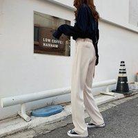 HziriP OL Stil Geniş Bacak Pantolon Kadınlar Yeni Katı Yüksek Bel Şık Ofis İş Giyim Pantolon Kadın Pantalon Femme 200930