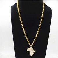 خريطة أفريقيا قلادة القلائد بلينغ حجر الراين كريستال لون الذهب الهيب هوب سلسلة للنساء رجال هدايا CY20 مجوهرات الأفريقية