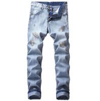 Artı Boyutu Erkekler Baggy Yırtık Delik Denim Pantolon Erkek Sıkıntılı Harem Kot Boyutu Hip Hop Kırpılmış Jean Pantolon Eski Stil Joggers Kalem Kot Pantolon