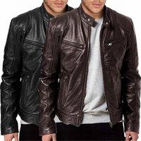 Hot vente Hommes Vintage Manteau Veste en fourrure cool mode en cuir décontractée à manches longues Automne Hiver pied de col club Manteau