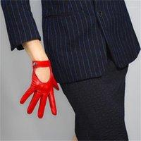 Cinco Fingeres Guantes Moda Mujeres Pantalla Táctil Cuero Pure Sheepskin Locomotora Mano Atrás Botón corto Seda Forrada Red TB04-31