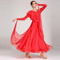 2021 Nuevos disfraces de baile modernos Royal Red Women's Competición de manga larga Vestido de baile Walts Tango Dancing Vestidos1
