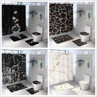 샤워 커튼 커튼 크리 에이 티브 패션 대리석 인쇄 욕실 방수 4 조각 받침대 깔개 뚜껑 카펫 화장실 커버 목욕 매트 세트