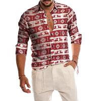 Hemd für Männer 2021 Herren Weihnachtshemd Party Casual Button Down Kleid Schneemann Schneeflocken Hirschblöcke Weihnachten