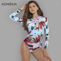 Aonihua 2018 sexy frontal cremallera de una pieza traje de baño mujer de alta calidad empuje hacia arriba manga larga traje de baño hembra surfing natación traje1