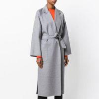 Осень зима длинные шерстяные пальто женщины мода серый кашемир куртка женский ремень шерстяной смесь