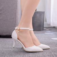 7 Cm stiletto a punta Tacchi alti elegante scarpe da sera bianco banchetto sola sua Sposa scarpe da sposa Big Small Size Womens Shoes 33-43